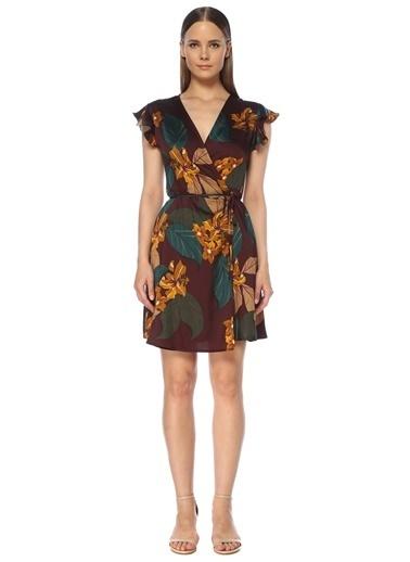 NetWork Kadın 1073455 V Yaka Çiçekli Mini Anvelop Elbise Mürdüm